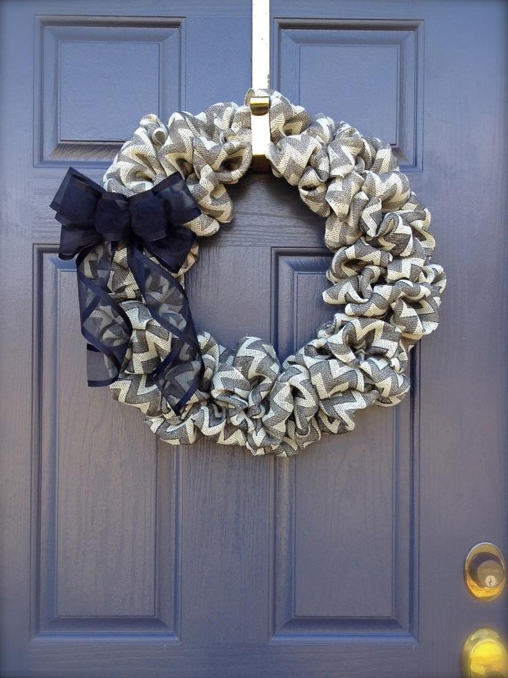 Chevron Striped Wreath - Burlap Wreath- Chevron Burlap Wreath. $42.00, via Etsy.