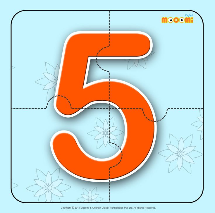 Number – Five 5 - Easy online, free to download, number #jigsawpuzzles tied to lesson plans and printable activities for pre-schoolers, kindergarden and early elementary. More such jigsaw puzzlese article at http://mocomi.com/fun/arts-crafts/printables/jigsaw-puzzles/