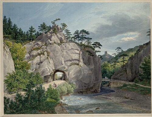 Eduard Gurk, Blick auf die Weilburg vom Urtelstein im Helenental bei Baden (Guckkastenblatt), 1833 © Albertina, Wien