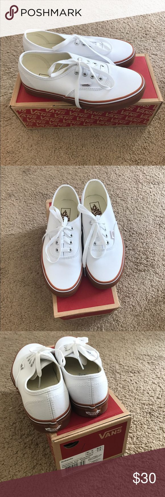 All white VANS with gum sole Women's size 7.5 all white vans with gum bottoms. Brand new never worn Vans Shoes Sneakers