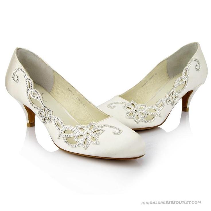 White Satin Rhinestone Flower Bridal Shoes Low Heel