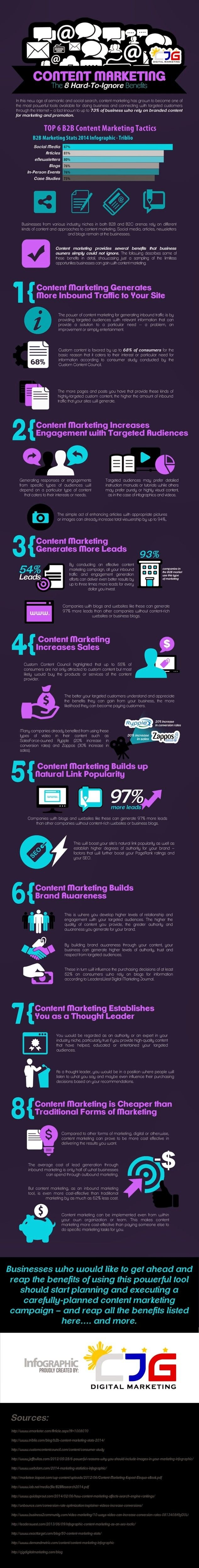 8 Hard-to-ignore Content Marketing Benefits #infographic #contentstrategy