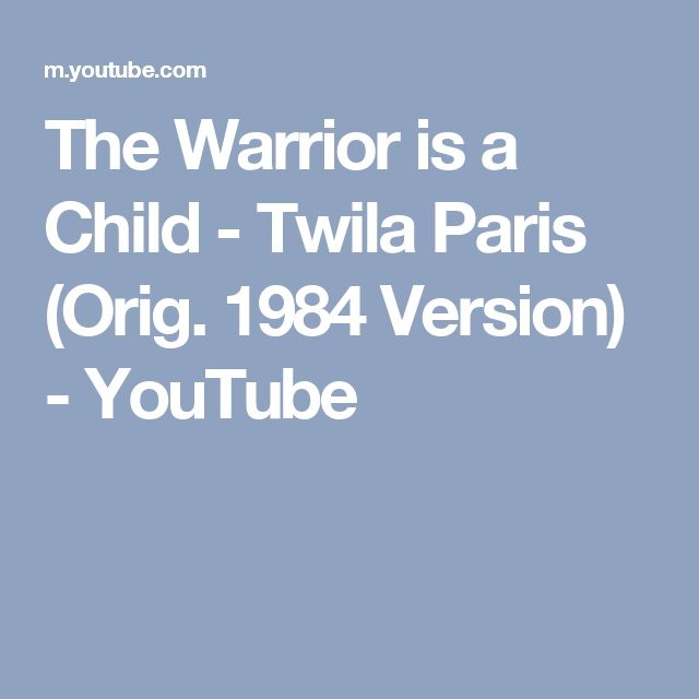 The Warrior is a Child - Twila Paris (Orig. 1984 Version) - YouTube