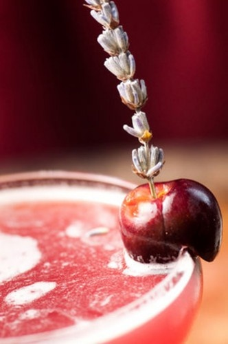yes please. The Monk's Cherry: Ingredients: 2 oz. Four Roses Bourbon 3/4 oz. Chartreuse Green 1/2 oz. Carpano Antica 5 Bing cherries 1 inch Dried lavender flower 1 Full lavender flower