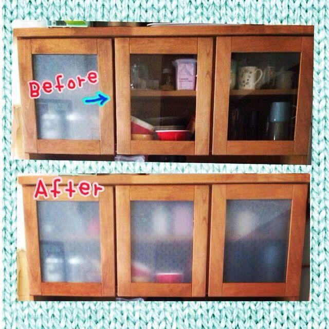 食器棚 目隠し/100均…などのインテリア実例 - 2014-05-17 03:21:03