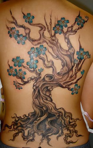 Cherry Tree Tattoo on Back