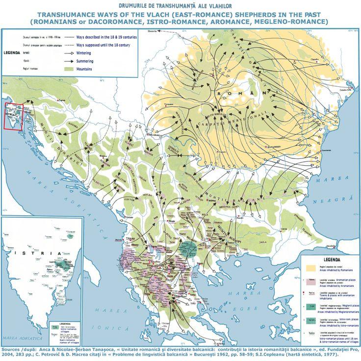 Transhumance ways of the Vlachs. Map depicting the movement of Vlach (Romanian) shepherds across the Balkans.