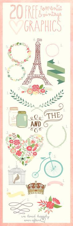 with photoshop explanations step by step! We Lived Happily Ever After: 20 Free Romantic & Vintage Graphics
