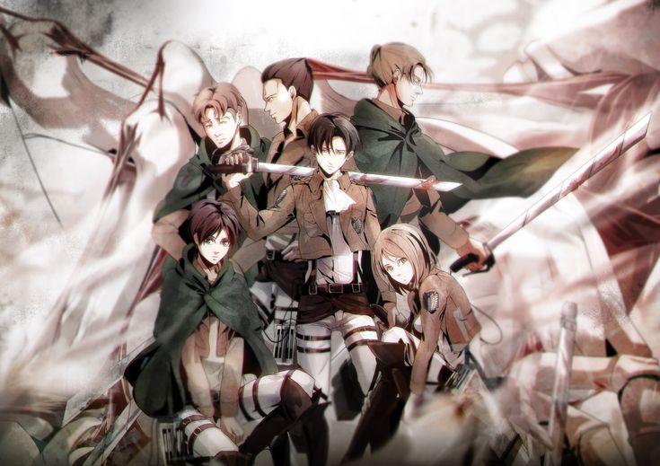 Kawauso (Pixiv3192440), Shingeki no Kyojin, Petra Ral, Eren Jaeger, Gunter Schulz, Levi