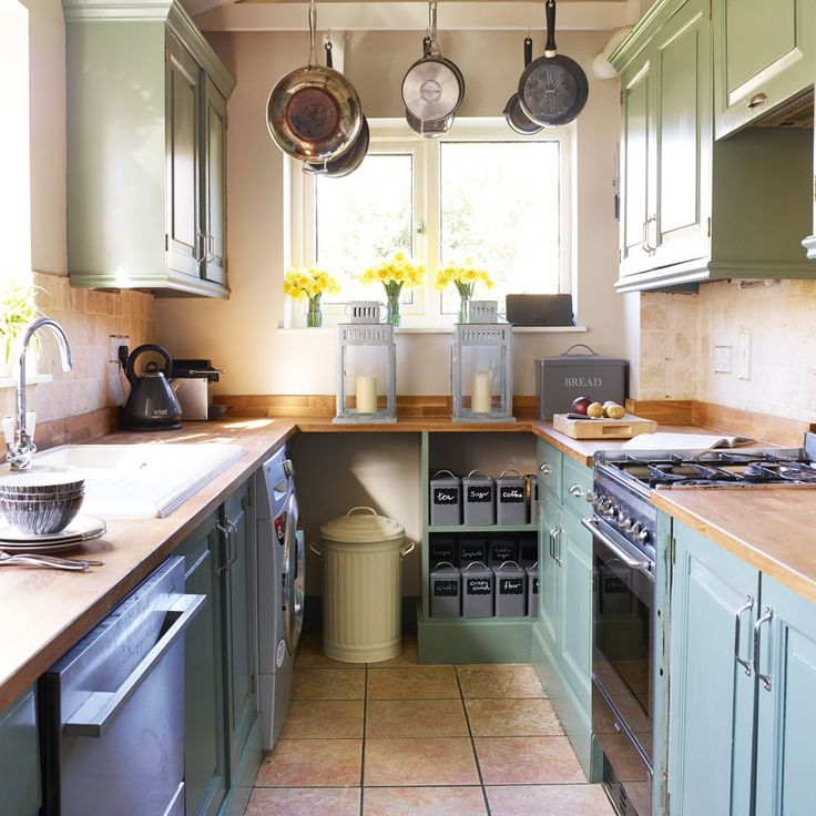 Narrow galley kitchen with overhead pan rack
