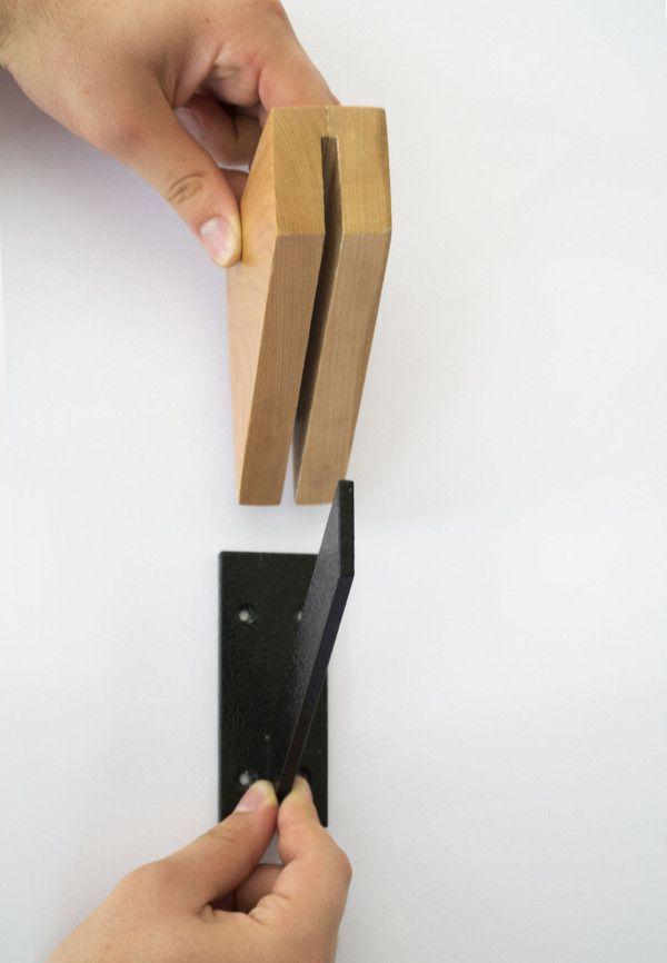 Powdercoated metal bracket with wood sleeve  Storytelling Furniture by Nueve Design Studio in home furnishings  Category