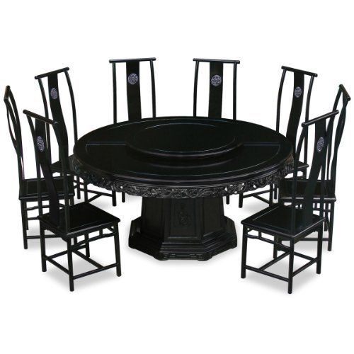 66in Rosewood Round Dining Table With 10 Chairs   Dragon Design   Black By  ChinaFurnitureOnline.
