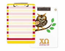 One of my personal faves--the acrylic clipboard. So trendy, practical, and useful. Get ready to blow away your Chi Omega sisters with this new design designed just for us, only by Erin Condren!