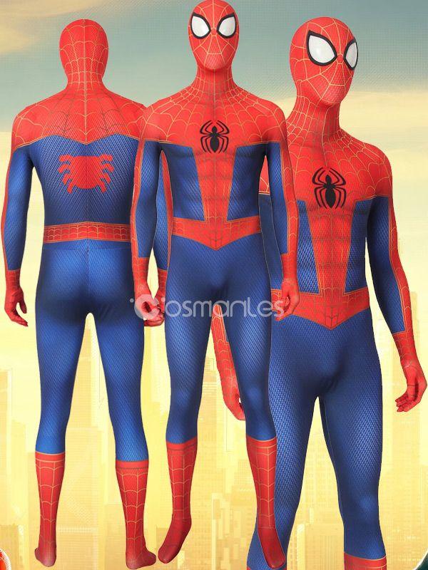 Into the Spider-Verse Jumpsuit Peter Parker Zentai Cosplay Costume Spider-Man