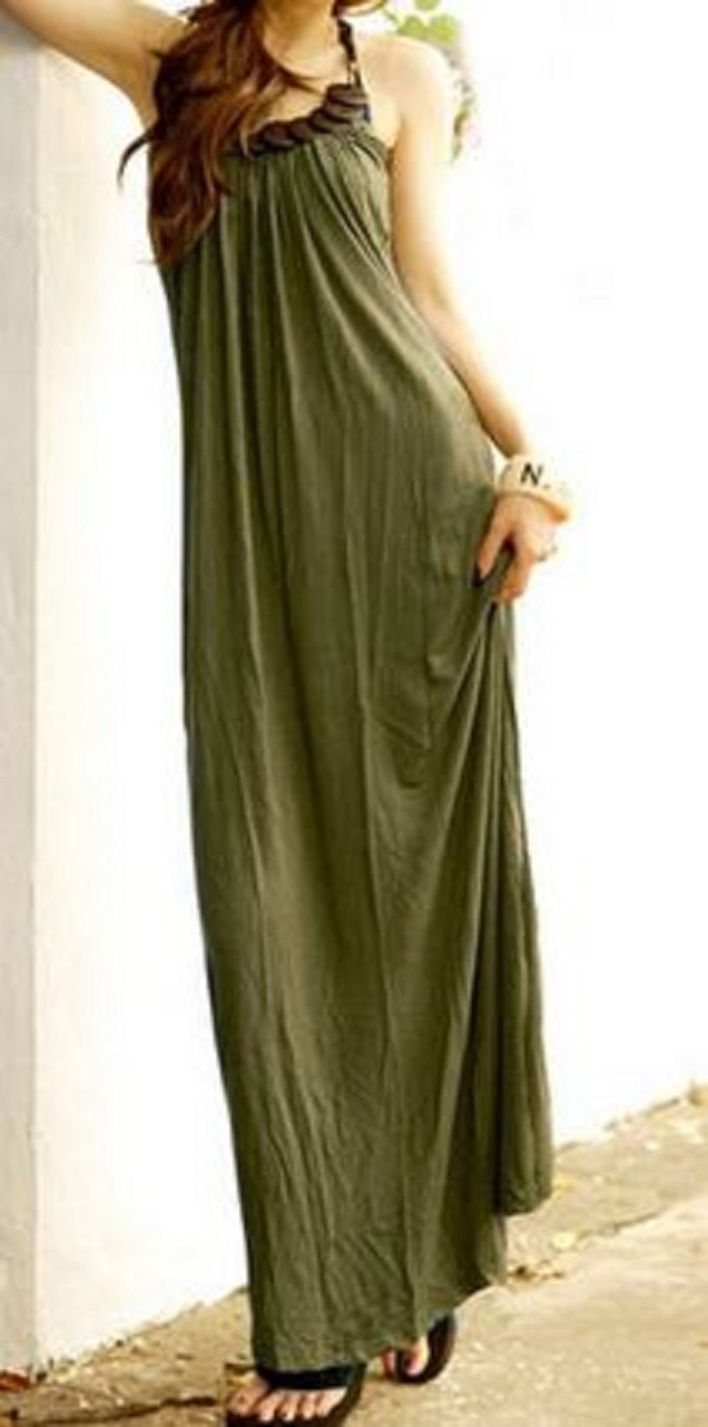 Casual Army Green Halter Neck Solid Color Beaded Long Maxi Dress #Fashion