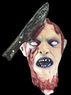 Life Size Animated Bloody SEVERED HUMAN ZOMBIE GHOUL HEAD Flashing Red Light Up Eyes, Screaming Gothic Halloween Horror Prop. Cut-Off Dismembered Dead Body Part. KNIFE or SPIKE. Lighted, spooky sounds, scary screams, motion activated.