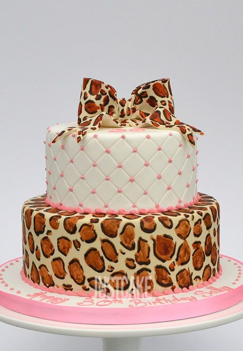 Pink Leopard 2 Tier Birthday Cake by Just Cake of Norfolk