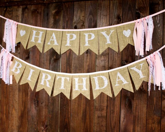 Pink & Lace Burlap Happy Birthday Banner by MsRogersNeighborhood
