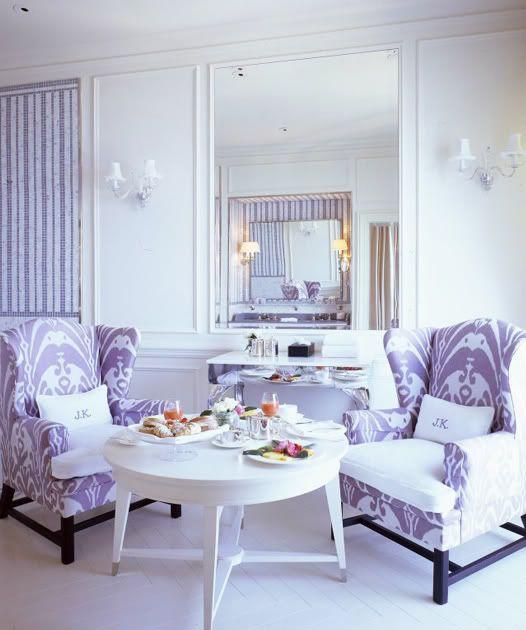 Lavender white living room ikat interior design pinterest