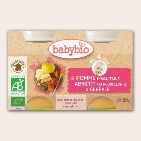 Petit Pot Fruits - Pomme d'Aquitaine, Abricot du Roussillon & Céréale - dès 4 mois - Produit en France - Babybio