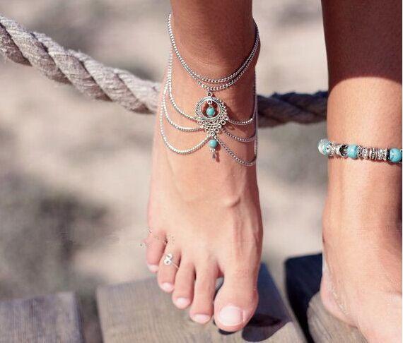 Лето стиль этнический стиль многослойных серебряная цепочка с бохо бусины ножные браслеты браслет для женщин и девушки ноги пляж ювелирные изделия