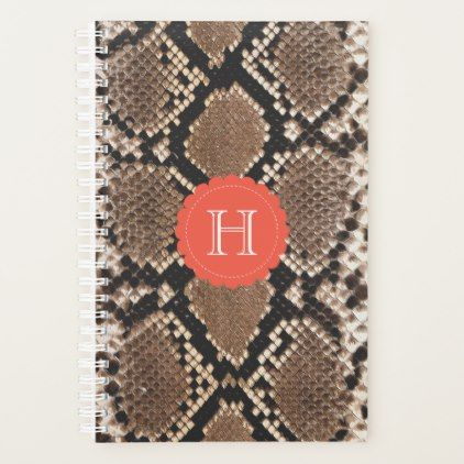 Exotic Faux Snake Skin Pattern Monogram Planner - monogram gifts unique design style monogrammed diy cyo customize