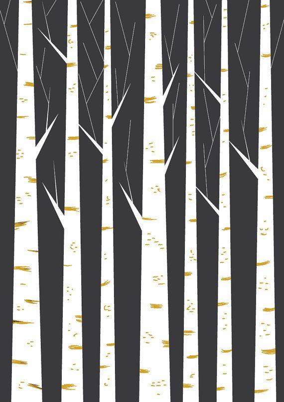 Birch forest geometric print minimalist art poster by FLATOWL