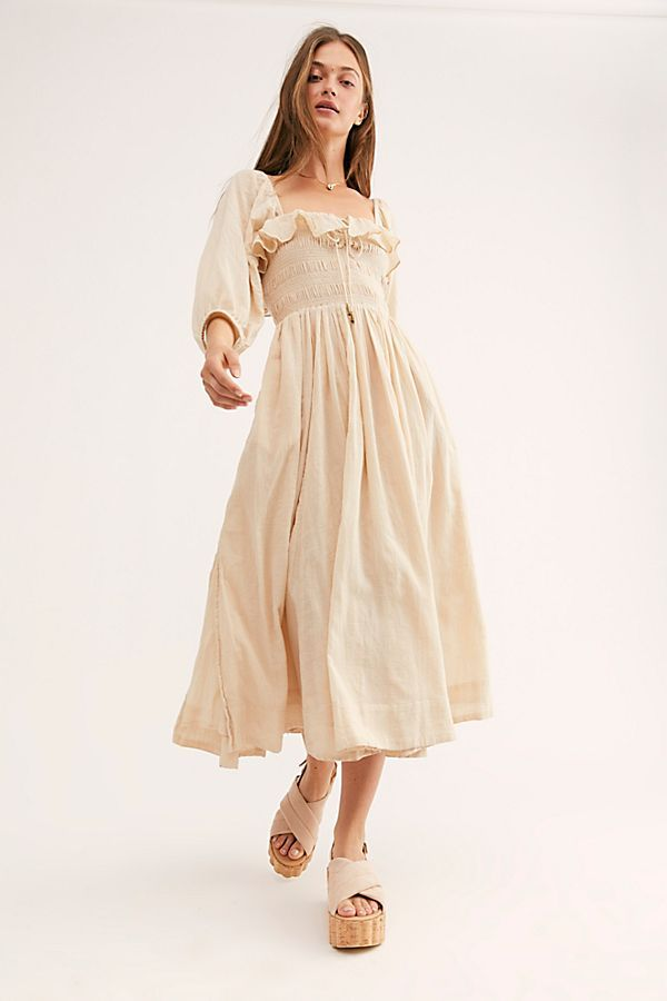 7facb4f2a08d Oasis Midi Dress - Beige Flowy Long Sleeve Smocked Midi Dress - Beige Flowy Midi  Dress