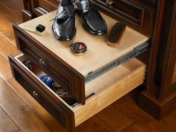 Man Space: A Guy Likes a Nice Closet, Too -  Meanwhile, a smart wooden plank folds out to create a shoe-shine station.   Hunt Club Valet pull-out platform with storage.