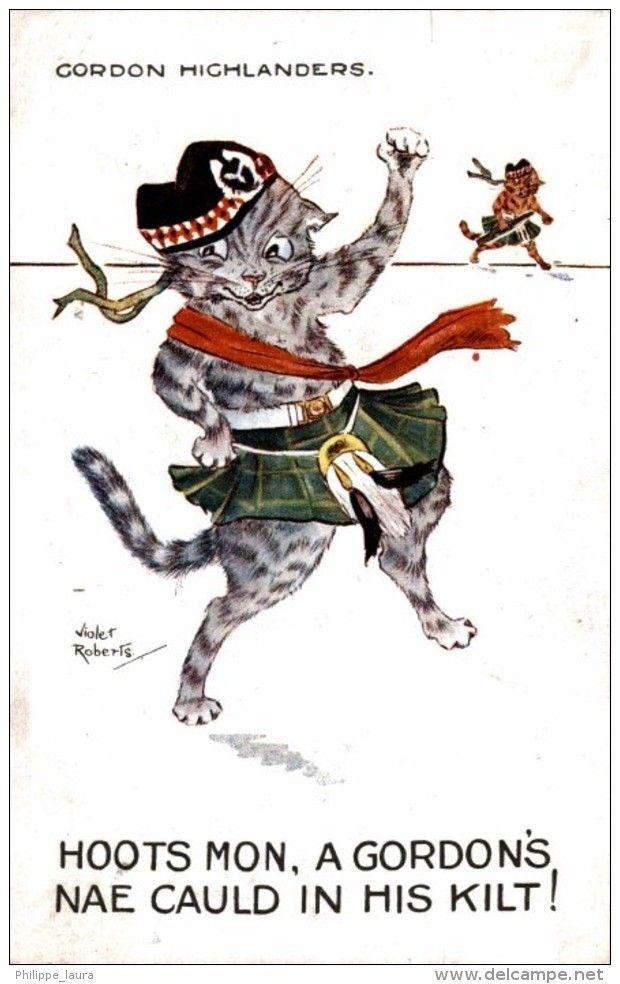 CORDON HIGHLANDERS  HOOTS MON A GORDON´S NAE CAULD IN HI   VIOLET ROBERTS   Chat Humanisé-Chats-Cat-Kat-Katze @postaltrip #postcard #gatos #cats