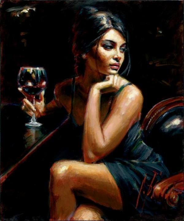 Woman sitting at bar seductive pinterest bar and women 39 s for Painting while drinking wine