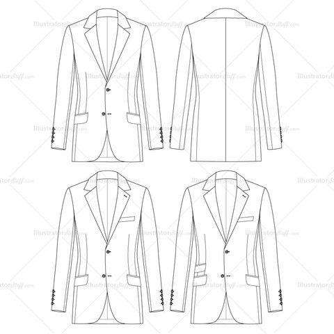 Men's Slim Fit Jacket Fashion Flat Template #illySTUFF