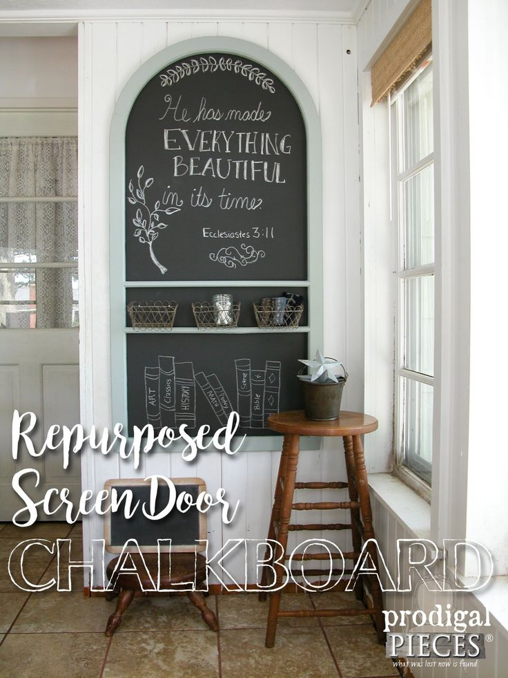 Repurpose Screen Door Turned Chalkboard Wall Art by Prodigal Pieces | www.prodigalpieces.com