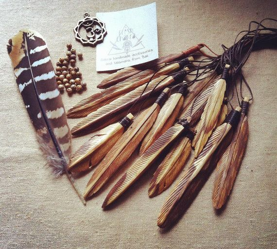 Palo Santo hand carved wooden feathers necklace wood palo santo pendant by freshchakra. Explore more products on http://freshchakra.etsy.com