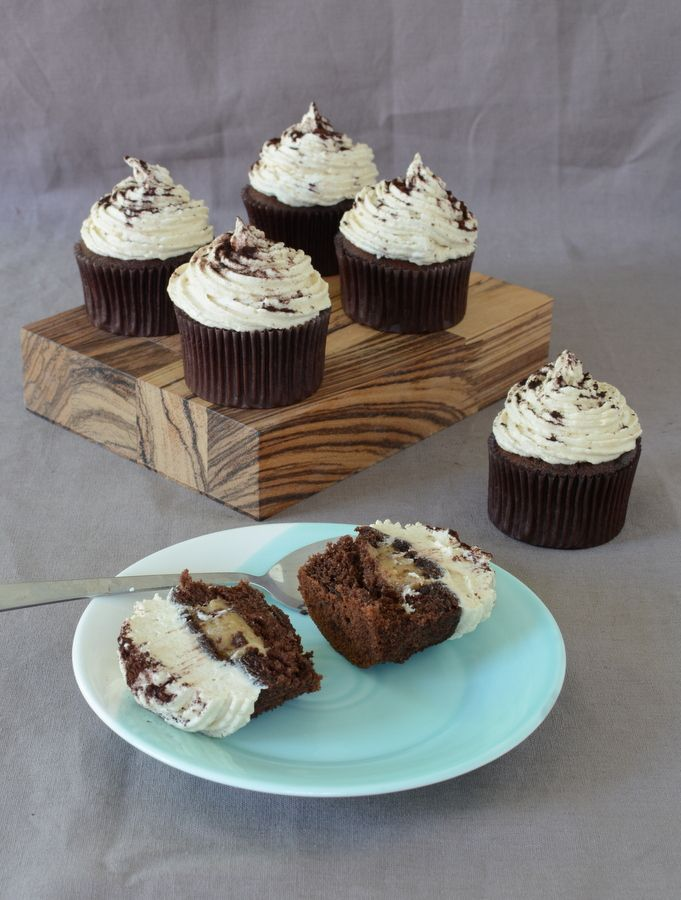 Chocolate, Banana, Peanut Butter Cookie Dough Cupcakes
