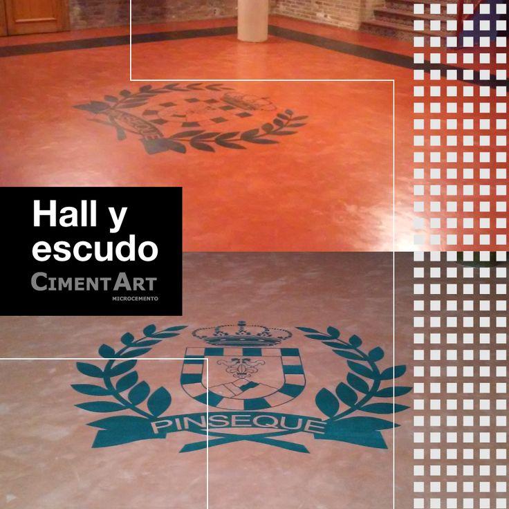 En #Cimentart también recibimos #EncargosEspeciales ¿Qué os parece el resultado de este suelo con logo incluido para el Ayto. de Pinseque en Zaragoza?