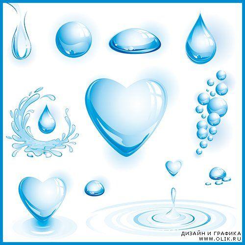 Векторный клипарт - Капли воды 2
