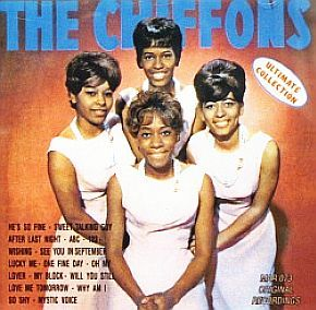 The Chiffons girl group of the 1960s shown on a album cover featuring their greatest hits.