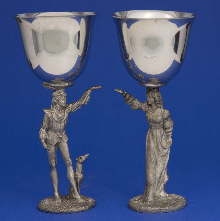 Gallo Pewter Celebration Wine Goblets -- Romeo & Juliet, designed by artist Bob Maurus, dated 1988.  Yard Sale find - Pair for $10.
