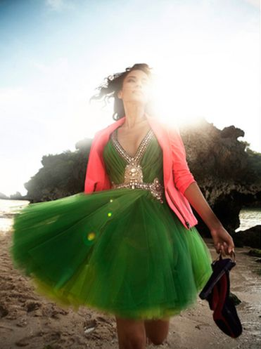 A Color Delight-- Emerald tulle dress + Coral cardigan