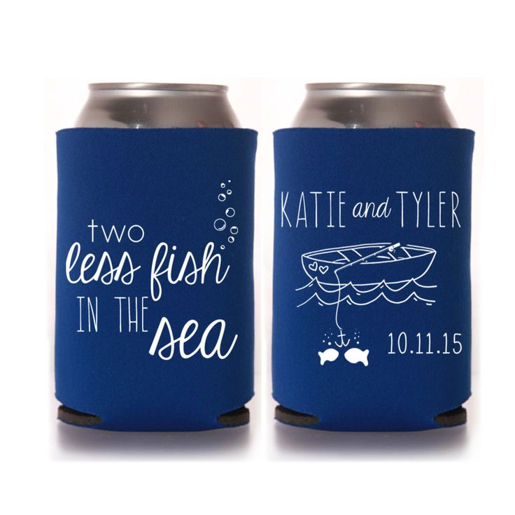 Wedding Koozie Ideas: Personalized 2 Two Less Fish In The
