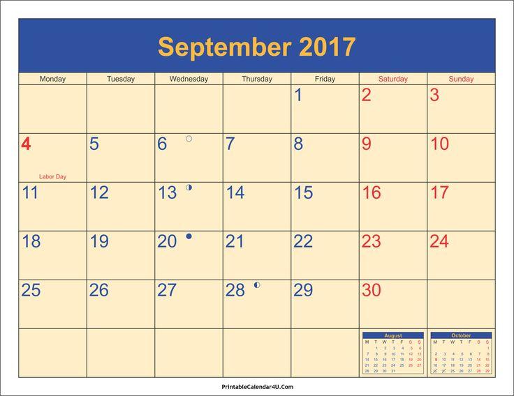 Captivating September Calendar 2017 Http://socialebuzz.com/september 2017 Calendar