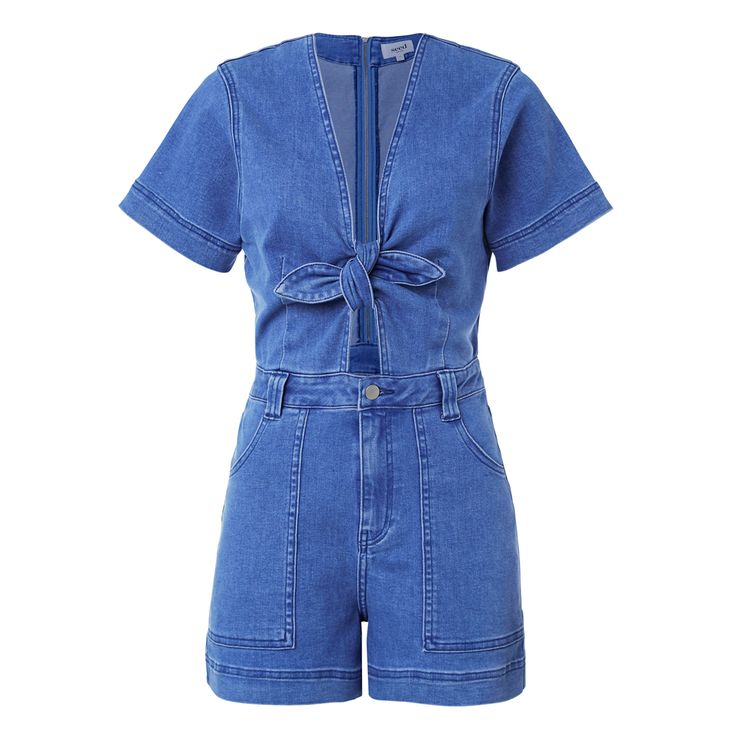Cotton/Polyester/Elastane Bow Denim Romper. Slim fitting style features a low neckline with tie, short sleeves, a fixed waistband with centre front fly zipper closure, side pockets and cropped shorts. Available in Sea Blue Denim as shown.