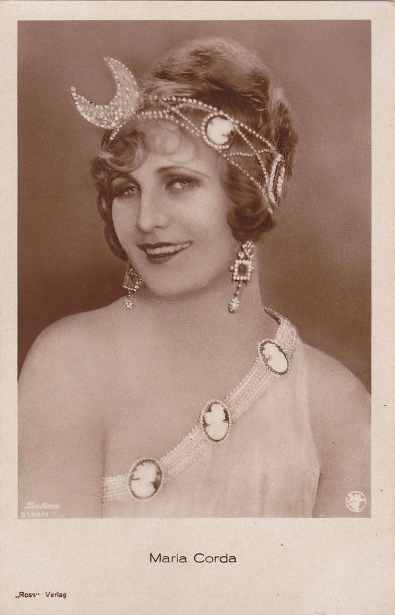Silent Film Actress Maria Corda in Beautiful Art Deco Sparkling Headdress with Crescent Moon and Cameos...circa 1920s