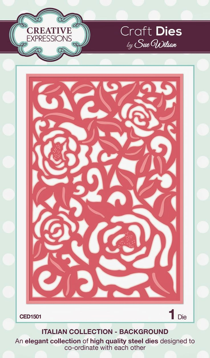 """Background ~ Italian Collection CED1501 -- 1 craft die. Size: 106mm x 156mm approx. (4.17"""" x 6.14"""")"""