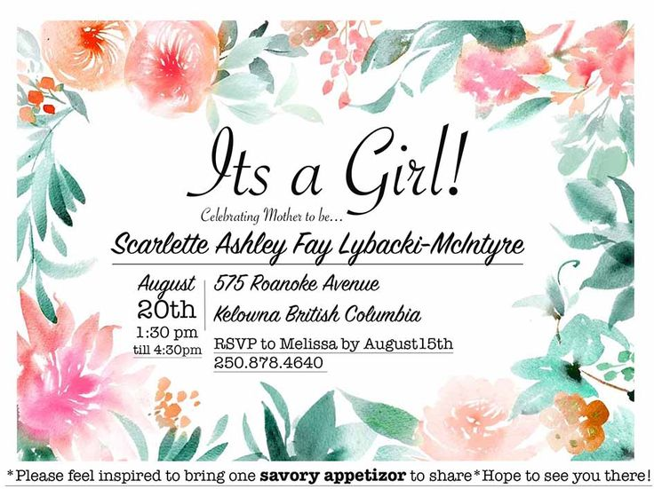 I did not design the floral back ground but simply used photoshop to creat this delightful invite
