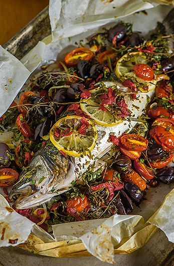 A super healthy dish using fresh herbs, tomatoes, garlic and pimentos with all the goodness and flavor sealed inside the