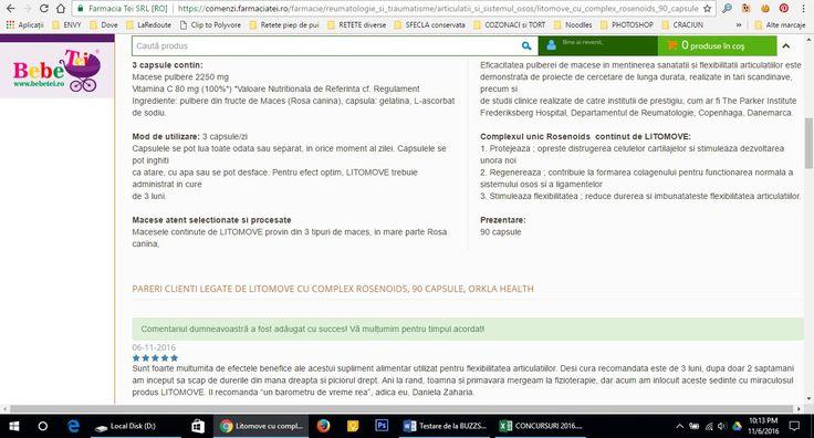 imagine din campania Litomove desfasurata de buzzstore.ro, 6.3.4. Review de produs pe site-urile de comert electronic care comercializeaza produsul Litomove https://comenzi.farmaciatei.ro/farmacie/reumatologie_si_traumatisme/articulatii_si_sistemul_osos/litomove_cu_complex_rosenoids_90_capsule_orkla_health-p10050432#comentarii  #buzzlitomove, #BuzzStore, @BuzzStore, #LITOMOVE