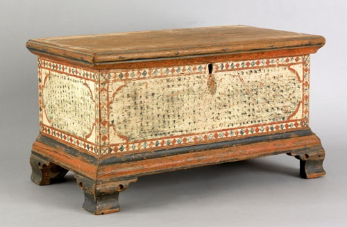 Pennsylvania painted pine miniature dower chest, ca. 1800, dercorated with ivory stippled panels within diamond borders supported by ogee bracket feet, 11 h. x 18.5 w.