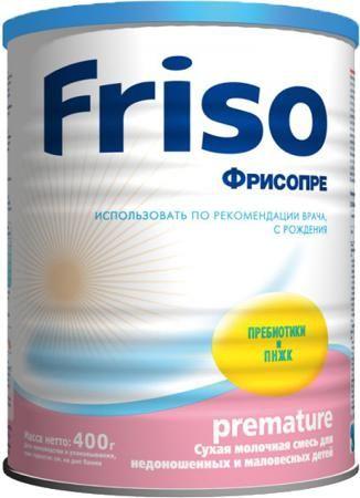 Friso Фрисопре (с рождения) 400 г  — 869р. --------------------- Молочная смесь Friso Фрисопре с рождения 400 г. Фрисо разрабатывает продукты детского питания класса Премиум на основании последних научных данных, чтобы обеспечивать процессы нормального роста и развития ребенка. Смесь Фрисопре специально разработана для недоношенных и маловесных детей, чтобы обеспечить их особые потребности в пищевых веществах и энергией. Может использоваться с рождения до достижения ребенком веса 3,5 кг…